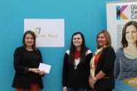 Seonaid (centre) is seen here with Susie Heywood and Marie Stewart of Glasgow City HSCP receiving her prize.