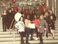 staff and students taking part in valentine event