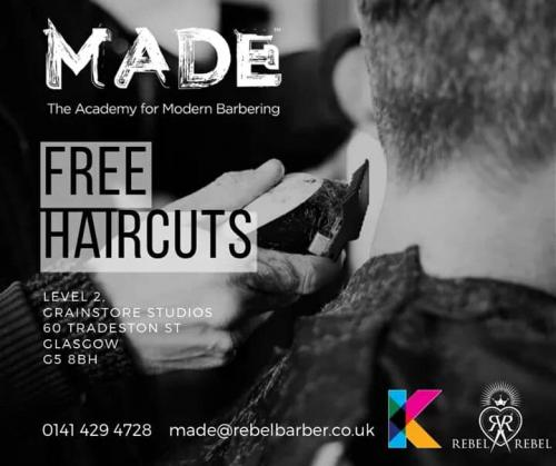 MADE poster for free haircuts